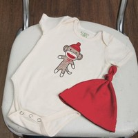 Organic Sock Monkey Bodysuit and Hat Unisex Baby Gift Set- Polkadot Patch Boutique