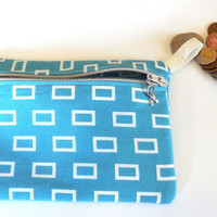 Make up bag, Teal and White Squares purse organizer, Teal card holder, Beauty supply organizer,Cosmetic storage pouch, Coin Purse