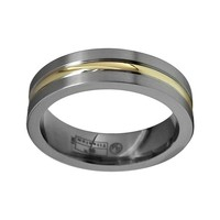 STI by Spectore 14k Gold & Gray Titanium Striped Wedding Band - Men (Gray/Gold)