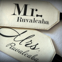 MR. & MRS. - Fabric Luggage Tags, Destination Wedding, Bride and Groom, Just Married, His and Hers