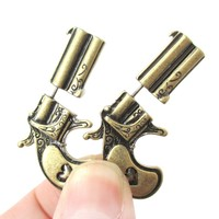 Fake Gauge Earrings: Double Pistol Gun Shaped Faux Plug Stud Earrings in Brass