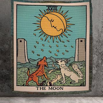Large Woven Tapestry - The Moon Tarot Card Tapestry - Rider Waite Deck - Cotton