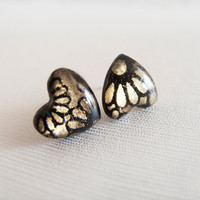 Black Gold Heart Stud Earrings - Polymer Clay and Resin Jewelry