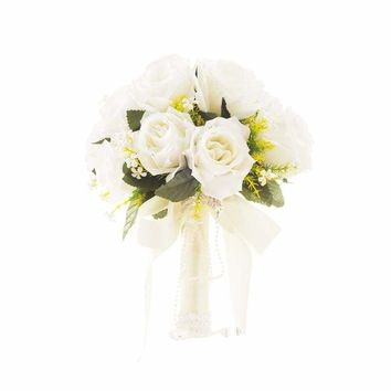 Rose Bridal Bouquet Artificial Flowers for Wedding Party (White)