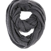 Paula Bianco Frayed Infinity Scarf in Charcoal - Charcoal