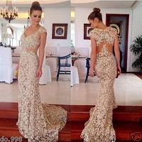 New Fashion Lace V Neck Evening Dress Prom Gown Women Formal Party Dress 2015