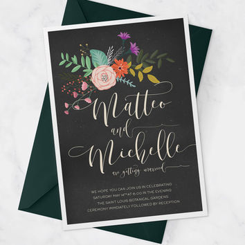 Printable Wedding Invitation with Flowers for Modern Wedding Invite available as Wedding Suite or Set - The Elizabeth