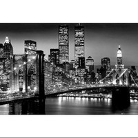New York City Brooklyn Bridge Night Poster Print (24 X 36) - Walmart.com