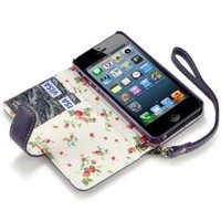 iPhone 5/5S Premium Faux Leather Wallet Case with Floral Interior (Purple)