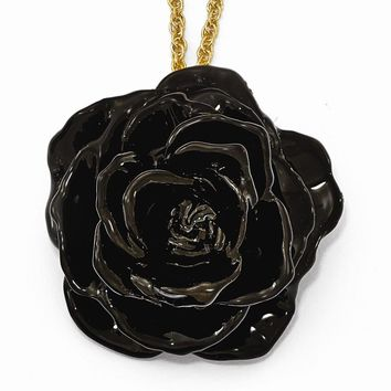 Lacquer Dipped Black Rose Necklace W/gold-tone Chain