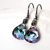 Vitrail Light Swarovski Earrings Wire Wrapped Oxidized Sterling Silver Purple Pink Blue Earrings