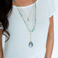 Beaded 3 Layer Necklace- Blue