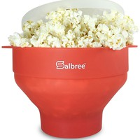 Salbree Microwave Popcorn Popper with Lid, Silicone Popcorn Maker, Collapsible Bowl BPA Free (Red)