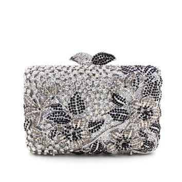 Luxury Flower Leave Rhinestone Prom Metal Clutch purse
