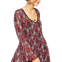 Burgundy Floral Bell Sleeve Strappy Mini Dress