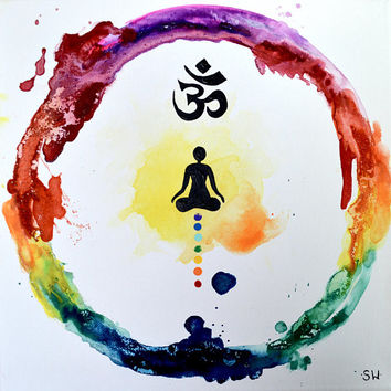 Rainbow Meditation Ring, Original Painting, chakra, energy, yoga, rainbow, om, ohm, canvas, zen