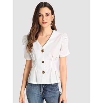Single Breasted Puff Sleeve Blouse