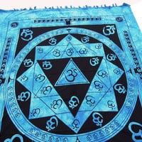 Hippie Hippy Wall Hanging Indian Om Print Tapestry Throw Bedspread Queen Bed Decor Sheet Ethnic Decorative Art