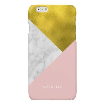 Pink Marble Pattern and Faux Gold Foil Glossy iPhone 6 Case