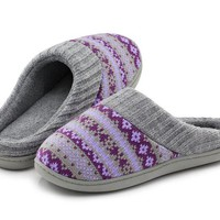 DCCKUG3 RockDove Women's Sweater Knit Memory Foam House Slippers w/Cute Embroidered Pattern and Ribbed Hand-Knit Collar