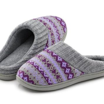 ONETOW RockDove Women's Sweater Knit Memory Foam House Slippers w/Cute Embroidered Pattern and Ribbed Hand-Knit Collar