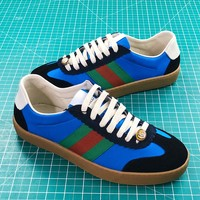 Gucci G74 Blue Nylon Sneaker With Web - Best Online Sale