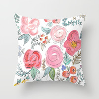 Watercolor Floral Print Throw Pillow by Jenna Kutcher