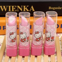 1Pcs New Cute Cartoon Hello Kitty Lipstick Eraser Kawaii Cat Novelty Pencil Rubber Office School Supplies Stationery Gift H1224