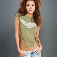 Ripped Eagle Print Tee | Wet Seal