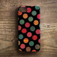 Polka dot iPhone 5 case - Polka dot iPhone 4 case, Retro iphone 4 4s 5 case, 70s 80s Cute Vintage old big colorful dots (c105)