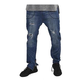 Fashion jeans pants men street blue jeans loose fit hip hop fitness men slim pants skirt pants men clothing