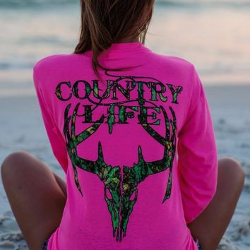 Country Life Outfitters Pink Camo Realtree Deer Skull Head Hunt Long Sleeve T-Shirt