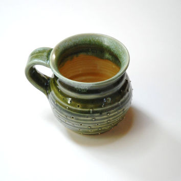 Large pottery mug,Clay coffee mug,tea lovers gift,moss green mug,dotty clay cup,coffee lovers gift,gift for a wife,girlfriend gift,large cup