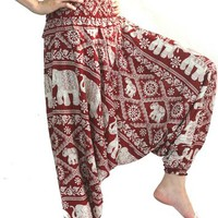 Bangkok Women's Yoga Pants Harem Pants  Clothes O/S  Red