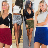 Women Sexy MINI SKIRT Slim Stretch Tight Short Fitted Pleated skirt