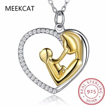 MEEKCAT 925 Sterling Silver Mother Child Necklace Mom Holding Child Heart Pendants