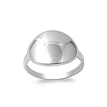 925 Sterling Silver Arched Oval Polished Metal Plate Ring