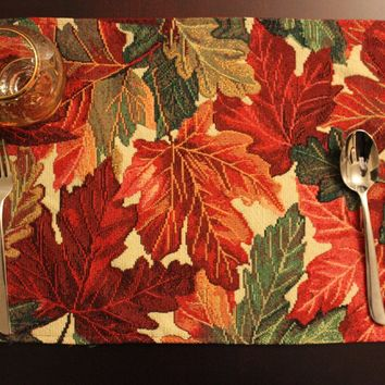 Tache 4 Pc Warm Colorful Thanksgiving Leaves Fall Foliage Tapestry Placemat Set