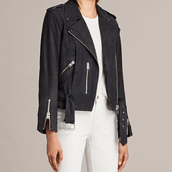 ALLSAINTS UK: Womens Suede Balfern Biker Jacket (Ink Blue)