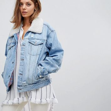 Free People Plaid Lined Borg Denim Jacket at asos.com