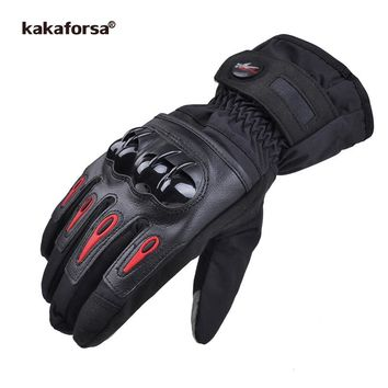 Kakaforsa Men Leather Skiing Gloves Touch Screen Warm Thick Ski Gloves Outdoor Waterproof Motorcycle Riding Snow Snowboard Glove