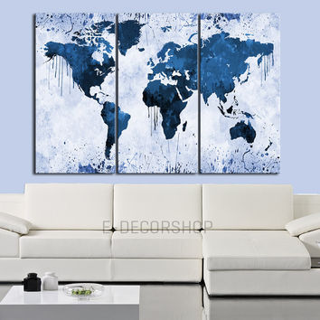 White Backgrounded Blue WORLD MAP Canvas Print - 3 Panel Canvas - Triptych Paint Splash World Map Framed - Colorful Mix World Map - MC110