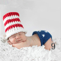 USA America Patriotic Crochet Newborn Infant Uncle Sam Top Hat + Pants