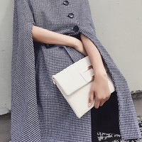 Black Houndstooth Side Button Tie Waist Cape Coat