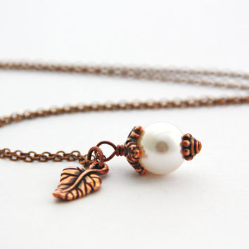 Single Pearl Necklace Copper Leaf Charm Necklace White Pearl Swarovski Crystal Necklace Antique Copper Leaf Pendant Delicate June Jewelry