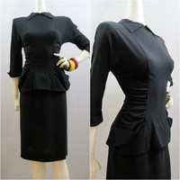 40s Suit Vintage Film Noir Ruched Black Rayon Crepe Blouse and Skirt S