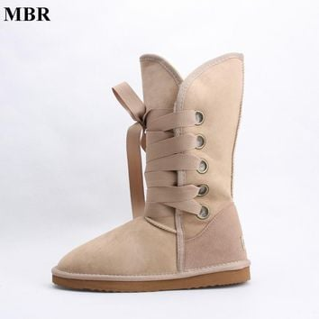 MBR fashion lace up UG snow boots for women bootlace real sheepskin leather natural wool fur lined girls winter shoes waterproof