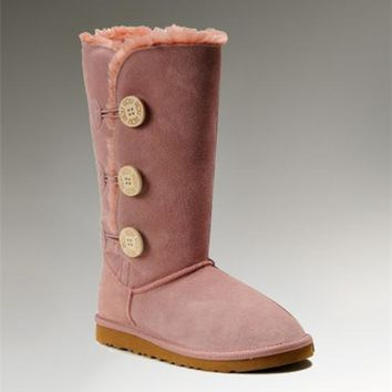 UGG Bailey Button Triplet 1873 Boots Pink Cute