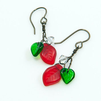 Red Green Christmas Dangle Earrings, Red Green Leaf Earrings,  Christmas Earrings, Holiday Jewelry, Christmas Gift for her under thirty