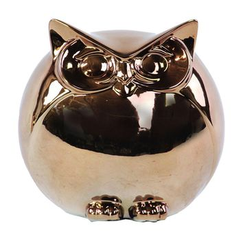 Ceramic Polished Chrome Finish Gold Spherical Owl Figurine